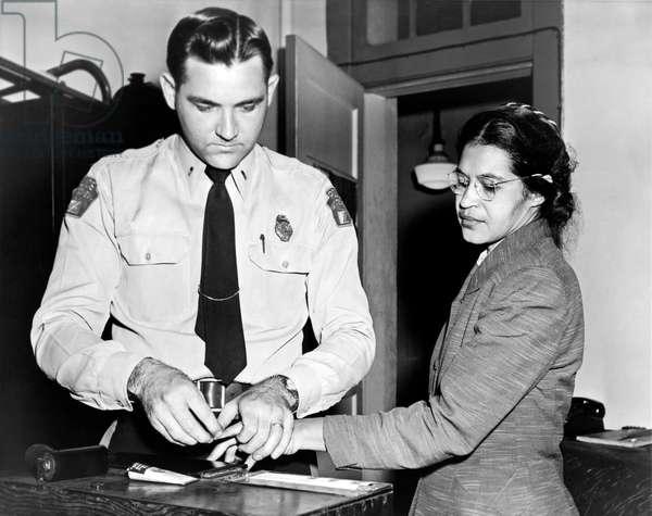 Rosa Parks Gets Fingerprinted (b/w photo)
