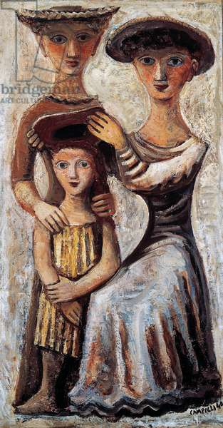 Women imposing the hat, 1941, by Massimo Campigli (1895-1971). Italy, 20th century.