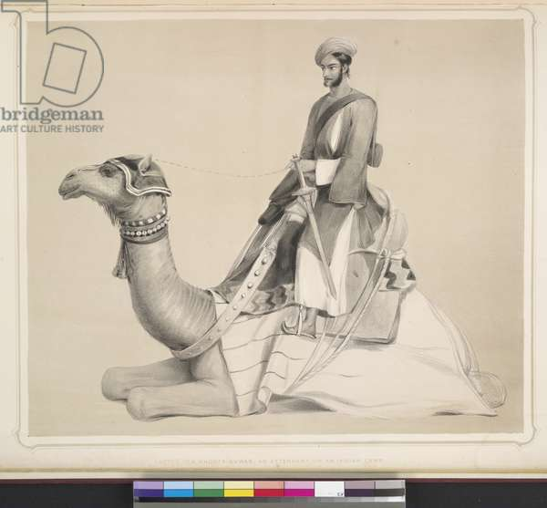 Sketch of a Shootr-Suwar, an attendant on an Indian Camp, plate 20 from 'Portraits of the Princes and People of India', 1844 (litho)
