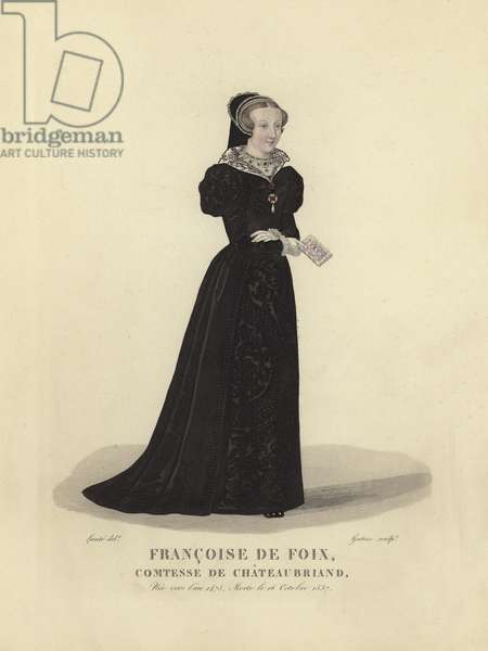 Francoise de Foix, Countess of Chateaubriand (coloured engraving)