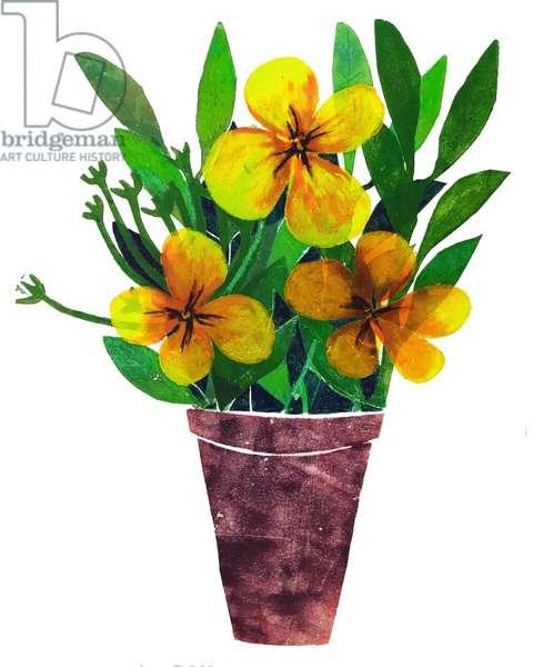 Yellow plant pot,2019,(monoprint)