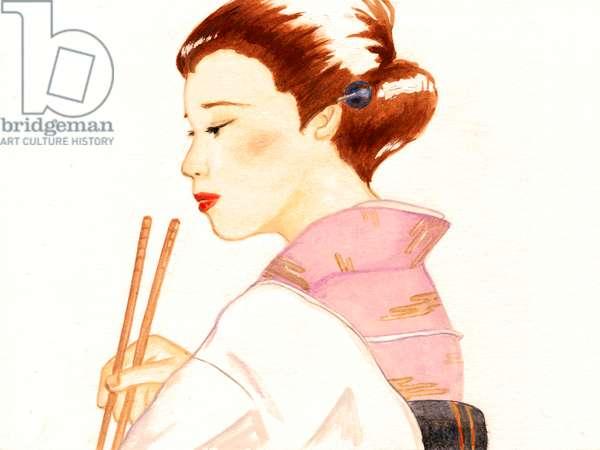 Japanese landlady,2015,(Acrylic paint on paper)