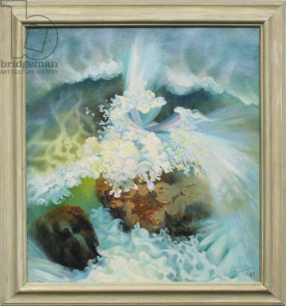 Wave Breaking on a Rock, 1981 (oil on canvas)