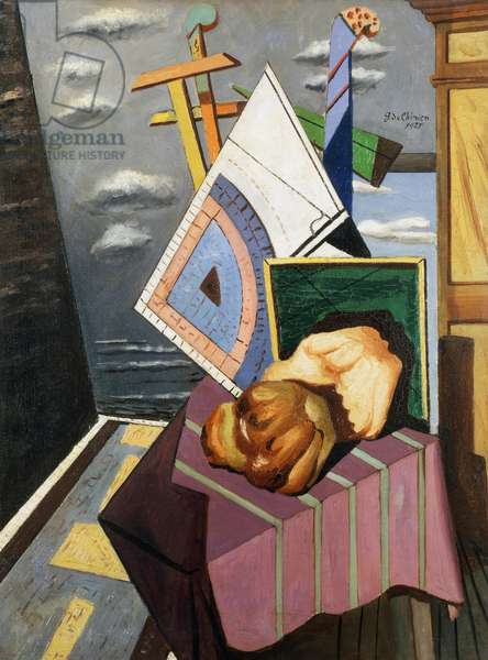 Still life with pastry, 1925, by Giorgio de Chirico (1888-1978), oil on canvas. Italy, 20th century.