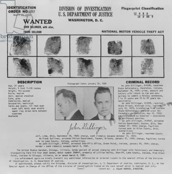 Wanted Poster for John Dillinger, displaying his fingerprints, signature, and portrait, 1934 (poster)