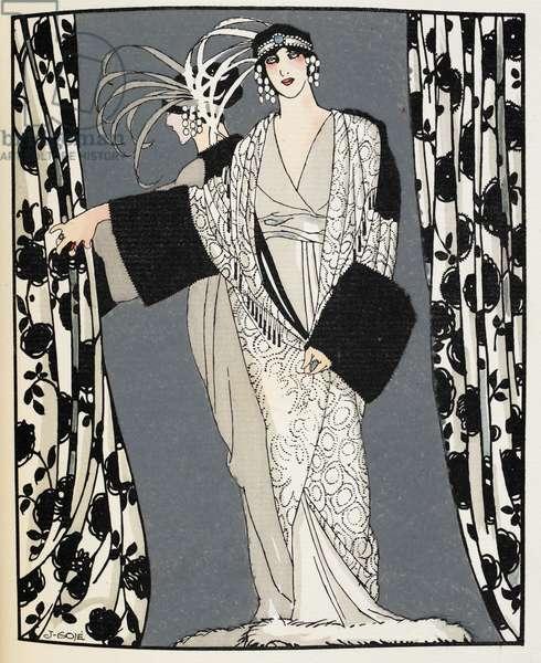 Blanc et noir. A woman wearing a costume designed in 1855 by John Redfern, illustration from 'La Gazette du Bon Ton' (colour litho)