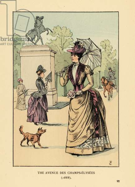 Fashionable woman on the avenue des Champs-Elysees, 1888. She wears a hat, dress with bustle, and carries a parasol and bouquet. Marly Horse statue behind. Handcoloured lithograph by R.V. after an illustration by Francois Courboin from Octave Uzanne's Fashion in Paris, William Heinemann, London, 1898.