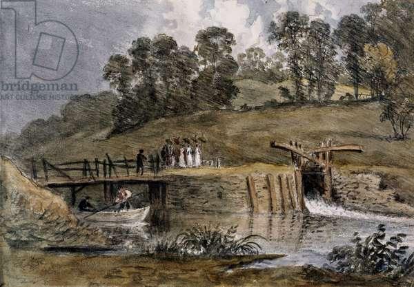 'Lock at Iffley'.  William Crotch.