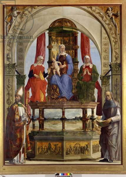 Virgin Enthroned with the Christ Child, Saint Anne, Saint Elizabeth, Saint Augustine and the Blessed Pietro degli Onesti, 1479-81 (oil on canvas)