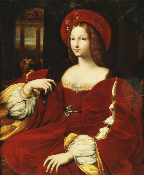 Portrait of Giovanna of Aragon, seated three-quarter length, in her chamber,  (oil on canvas)