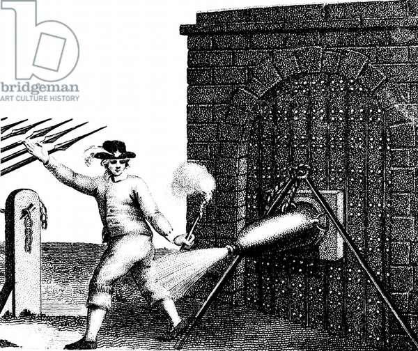 Normal method of applying a petard (explosive device) to the gate of a fortress. The fuse has just been lit and the Fusilier is retreating quickly in order not to be 'hoist with his own petard'. Stipple engraving c1800.