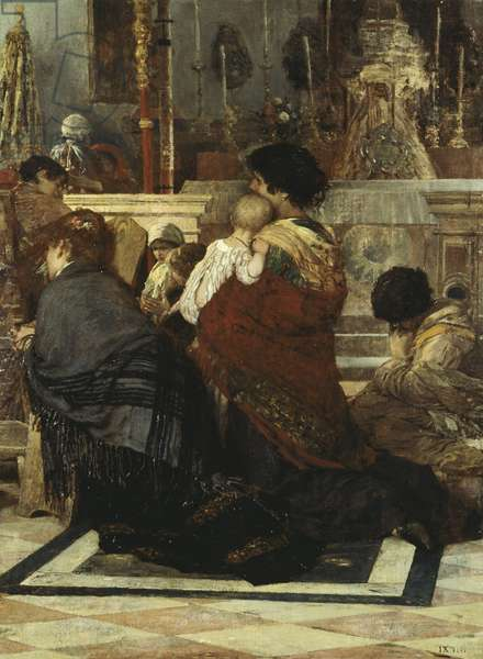 In the Church, by Luigi Nono, 1881, oil on canvas