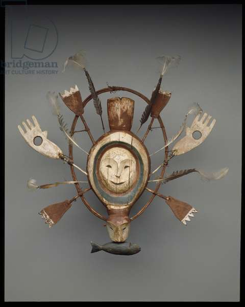 Mask with seal or sea otter spirit, late 19th century (wood, paint, gut cord & feathers)