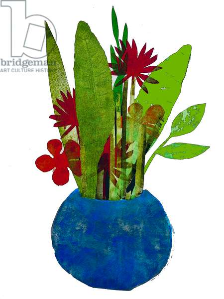 'Bowl of leaves and flowers' (mono print) 2020