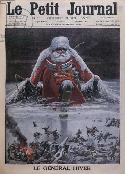 General Winter, front cover illustration from 'Le Petit Journal', supplement illustre, 9th January 1916 (colour litho)