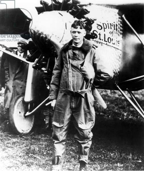 Charles Lindbergh, before takeoff of his trans-Atlantic flight, New York, 1927