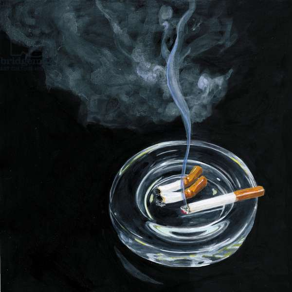 Tobacco ashtray and smoke,2014,(Acrylic paint on paper)