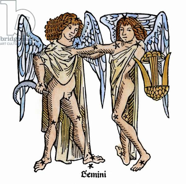 ZODIAC: GEMINI, 1482 Gemini, the twins. Zodiacal woodcut from Gaius Julius Hyginus' 'Poeticon Astronomicon,' Venice, Italy, 1482.