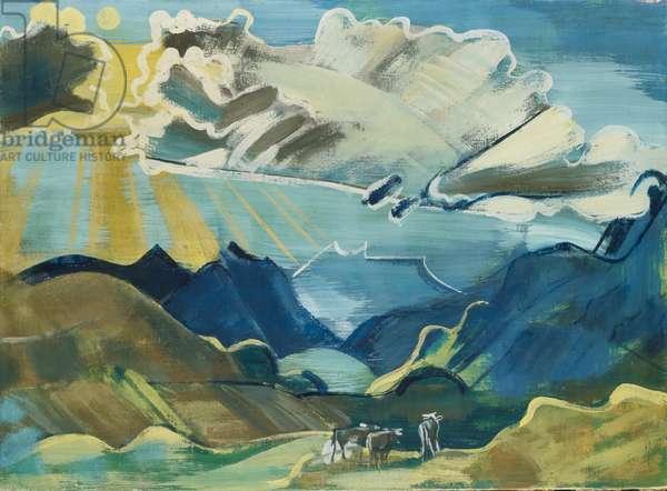 Balmalp with Schächental and Uri Rotstock, 1927-28 (clay paint on canvas)