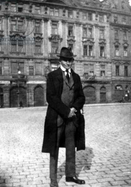 Czech Writer Franz Kafka In The Old Town Square In Prague, 1920-21.