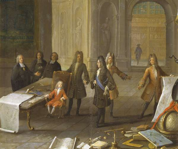 Lesson to young Louis XV at Versailles, painting by unknown artist, France, 18th century