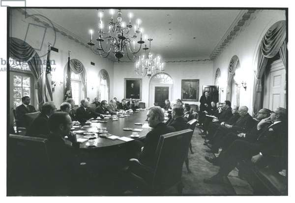 President Nixon at a cabinet meeting in the Cabinet Room prior to his announcement of a cease-fire in Vietnam, 7th October, 1970 (b/w photo)