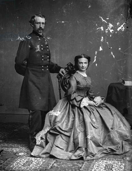 GEORGE ARMSTRONG CUSTER (1839-1876). American army officer. Photographed with his wife, Elizabeth Bacon Custer, c.1863.