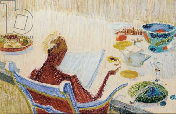 Woman at Tea-Table (coloured crayons & pastel on paper)