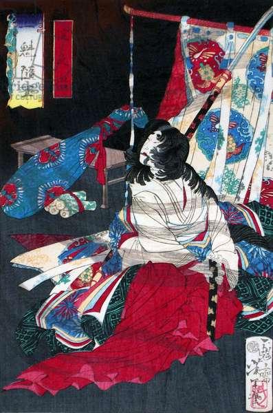 Japan: Lady Yodo Dono commits suicide at Osaka Castle in 1615. Castle. Tsukioka Yoshitoshi (1839-1892)