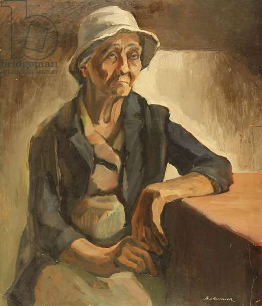 Portrait of Old Woman in Panama Hat, 1977 (oil on card)