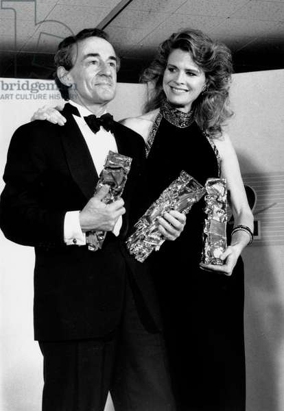 French Director Louis Malle, With his Wife Candice Berjen, Received Three French Movie Prize For his Film Goodbye Children March 14, 1988 (b/w photo)