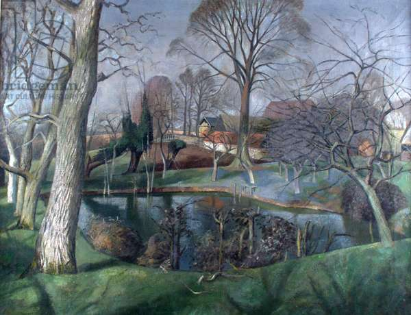Beslyn's Pond, Great Bardfield (oil on canvas)