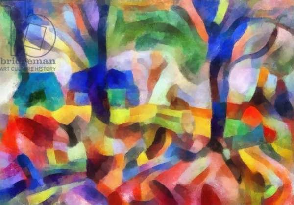 Blue trees,2107,(mixed media)