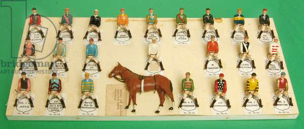 Britain's factory salesman's sample card of jockeys in racing colours (hollowcast lead)