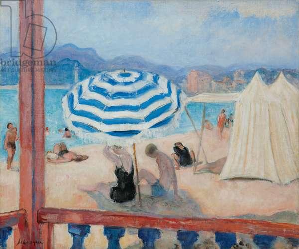 Cannes, Blue Parasol and Tents; Cannes, Parasol Bleu et Tentes,  (oil on canvas)