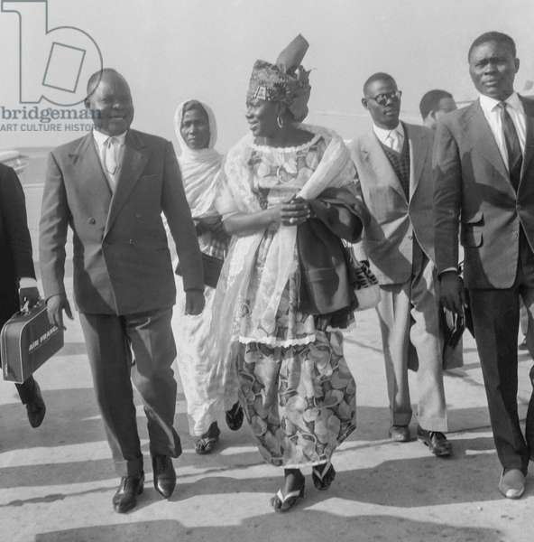 Kriga Mahamat (Tchad representative at the UNO) arriving at Orly airport in Paris, September 12, 1960 (b/w photo)
