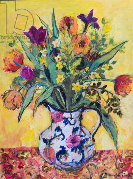 Jug of Spring Flowers on a Yellow Ground