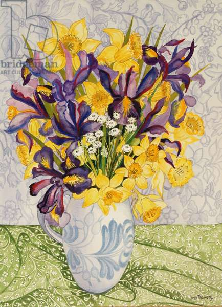 Iris and Daffodils with Patterned Textiles, 2008, (watercolour)