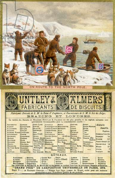'On Route to the North Pole',  front and back of a promotional card for Huntley & Palmers Biscuits, produced for the French market, 1890 (colour litho)