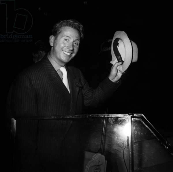 French Singer Charles Trenet in 1947 (b/w photo)
