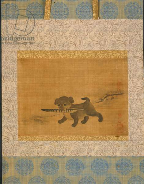 Puppy Playing with a Pheasant Feather, Joseon Dynasty (ink & colour on silk)