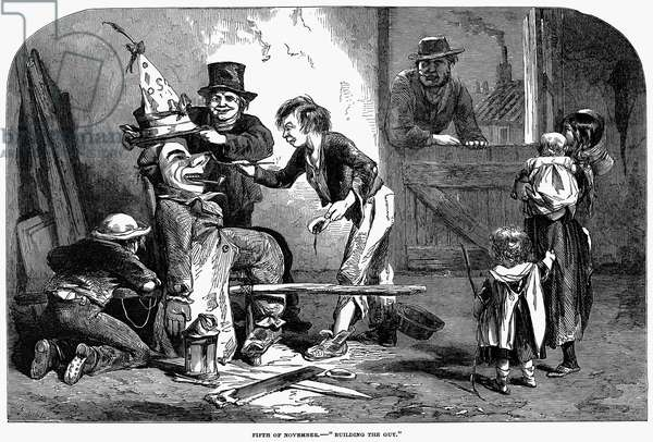 GUY FAWKES' DAY, 1853 'Building the Guy.' Building the effigy to be burned on Guy Fawkes' Day, 5 November 1853. Wood engraving from an English newspaper.