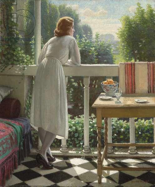 Miss Gladys on the Veranda,  (oil on canvas)