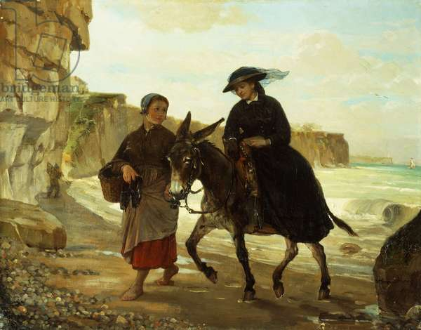 The Tourist and the Fisherwoman, 1870 (oil on canvas)