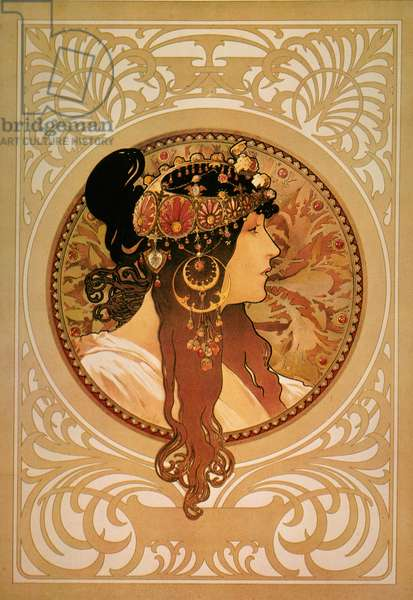 MUCHA: SARAH BERNHARDT Sarah Bernhardt on a poster designed by Alphonse Mucha.
