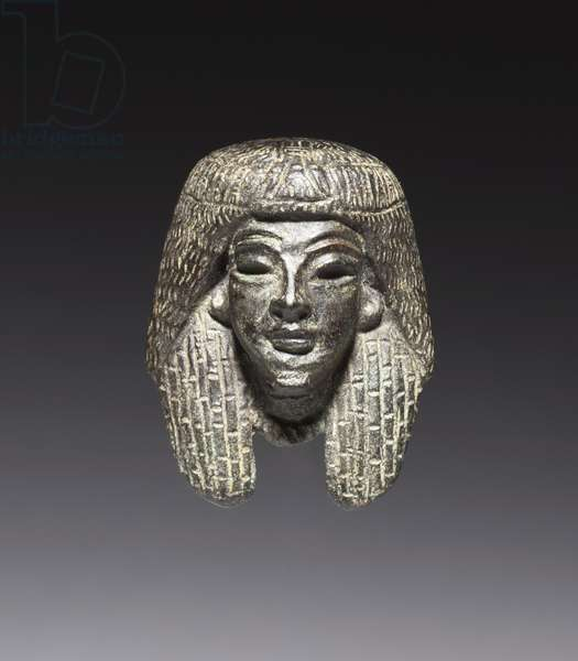 Bronze mount from a 'Shawabty Bundle': Head, Late 18th to Early 19th Dynasty, c.1336-1256 BC (bronze, black copper & gilding)