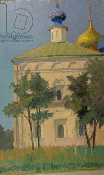 Church in Rostov Velikii, 1959 (oil on card)