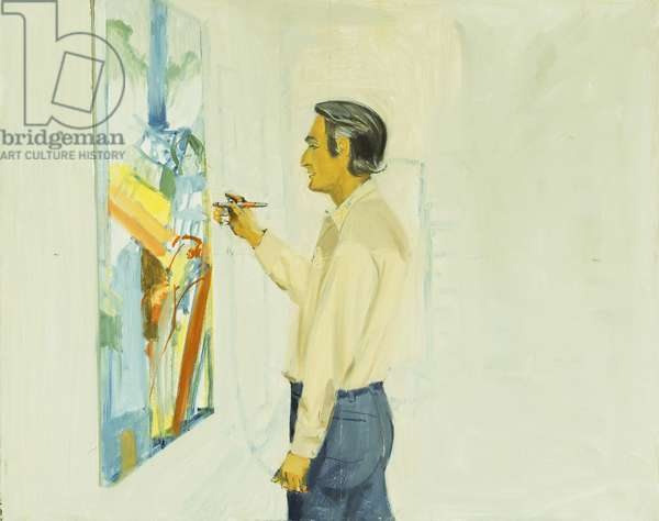 Larry painting Jim and Gretchen, c.1978 (oil on masonite)