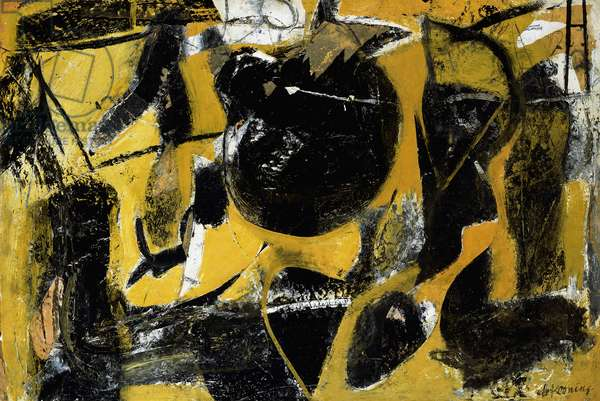 Abstraction, 1948 (oil, charcoal, enamel and paper collage on paper)