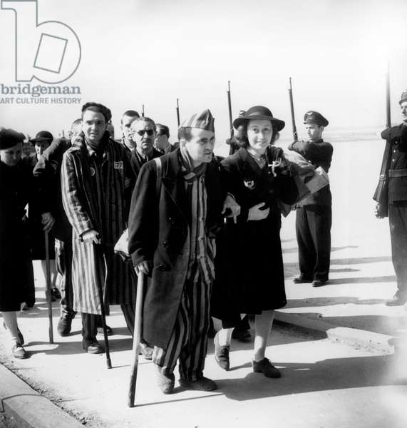 Arrival of The French Prisoners of War and Surviving of The Concentration Camp at The Airport of Bourget in France, in 1945 (b/w photo)